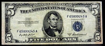 US Currency 1953 A $5 Five Dollar Silver Certificate Blue FR 1656