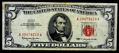 US Currency 1963 $5 Five Dollar United States Note Red Seal FR 1536