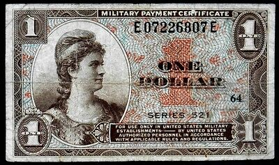 1954-1958 US Military Payment Certificate $1 One Dollar Series 521 KL# M 33r