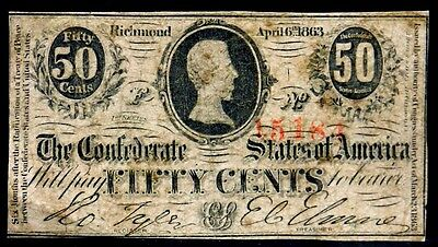 Obsolete Currency 1863 50 Fifty Cents CSA Richmond Civil War