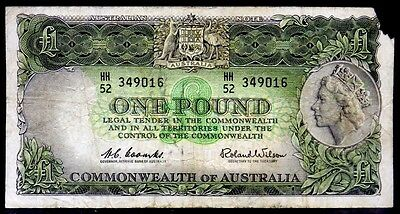 World Currency 1961 - 1965 Australia One Pound P 34a Coombs & Wilson
