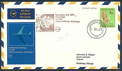 Lufthansa 1971 Boeing 747 First Flight Cover from South Africa to Congo