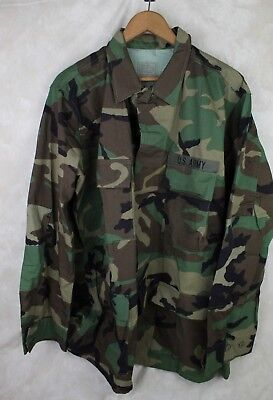 Genuine Us Army Woodland Camo Bdu Combat Shirt Coat Large Long Made In Usa