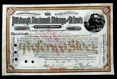 Stock Certificate 1915 Pittsburgh Cincinnati Chicago & St Louis RR Co 100 Shares