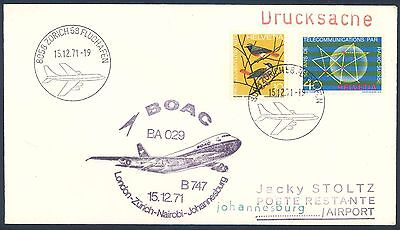 BOAC 1971 Boeing 747 First Flight Cover from Switzerland to South Africa