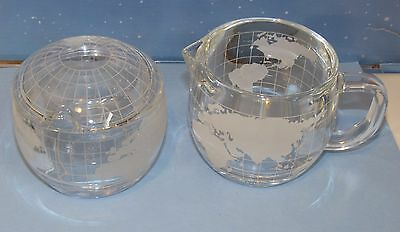 Vintage Nestle Nescafe World Globe Glass Creamer and Sugar Bowl with Cover