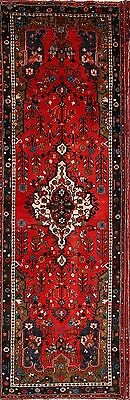 "Floral Vibrant Color Red Runner 3x10 Hamedan Persian Oriental Rug 10' 2"" x 3' 4"""