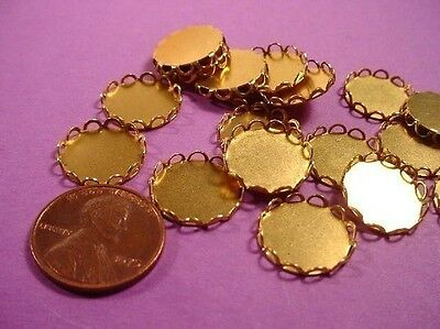 20 Brass lace edged round bezel settings 13mm