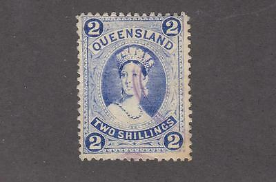 QUEENSLAND # 79 VF-2sh LIGHT BLUE CANCEL CAT VALUE $67.50