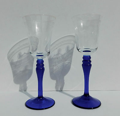 Pair Antique Crystal Stemware Etched Cobalt & Clear Cordial Sweet Wine Glasses