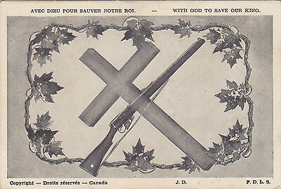 """With God to Save our King"" WWII Filles de la Sagesse Canada Patriotic Postcard"