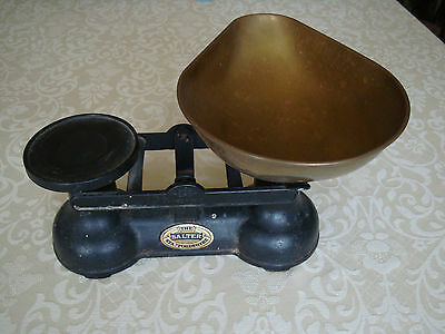 The Salter Staffordshire Old Style Black Cast Iron Kitchen Scales with Bowl