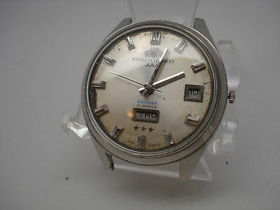 Orient Weekly Auto AAA Swimmer  21 Jewels Steel Vintage Wrist Watch for Repair