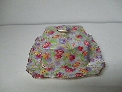 Vintage Royal Winton England Chintz Square Covered Butter Dish - Tulips