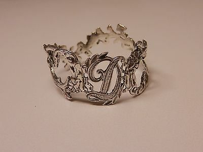 Napkin Ring with a ( Initial ( D )Rose Vine Design Sterling Silver