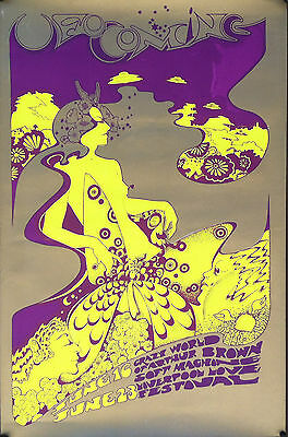SOFT MACHINE ARTHUR BROWN 1967 Hapshash & Coloured Cat UFO Club Poster OA-104