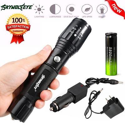 Tactical 5000LM CREE XM-L T6 LED Rechargeable Flashlight Torch Lamp +Battery UK