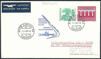 South African Airways 1985 Boeing 747SP First Flight Cover from Switzerland