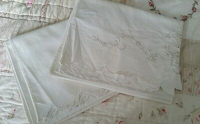 ANTIQUE METIS HAND EMBROIDERED PR PILLOWCASES~TROUSSEAU FLOWERS RIBBON 32 x 20.5