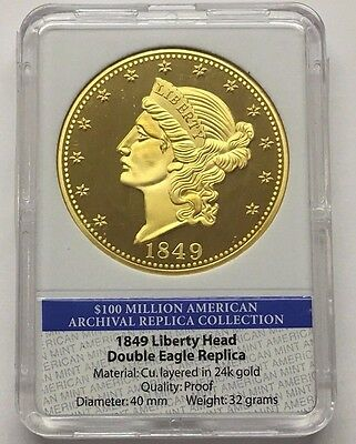 American Mint 1849 Liberty Head Double Eagle 24 Kt Overlay Copy Coin * Free Ship