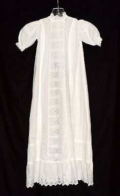 Antique Vintage 1900's White Detailed Embroidery Eyelets Long Christening Dress