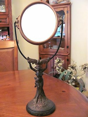 1950's Cast Bronze Figural Art Nouveau Lady Vanity Standing Large Beveled Mirror