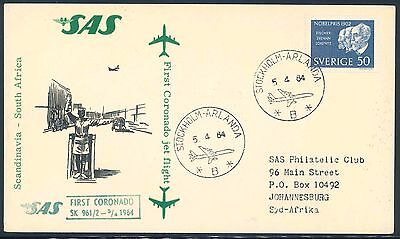 SAS 1964 Coronado Jet First Flight Card from Sweden to South Africa