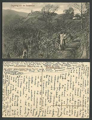Indonesia Java 1911 Old Postcard Sanatorium Tosari, Native Women Basket Panorama