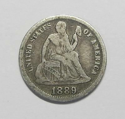 1889 U.S. Seated Liberty Dime * Circulated * Nicely Toned * Nice For Book