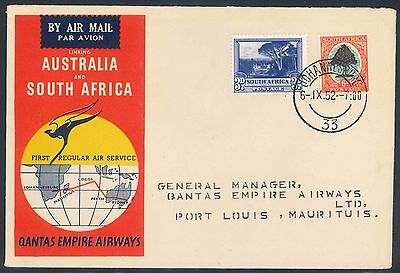Qantas Airways 1952 illustrated First Flight Cover - South Africa to Mauritius