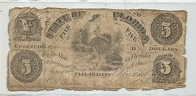 1861 $5 State of Florida Note (under the Confederate States of America) Note