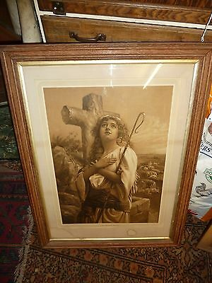 huge oak framed print victorian lord is my shepherd 1890's antique picture frame
