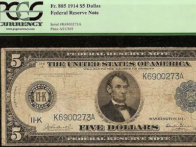 LARGE 1914 $5 DOLLAR KEY DALLAS FEDERAL RESERVE NOTE Fr 885 BURKE & GLASS PCGS
