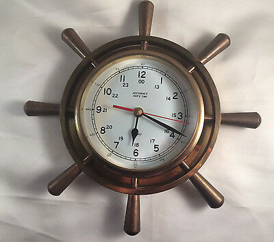 Solid Brass Old Fashioned Ships Wheel Clock Battery Operated Nautical Vintage