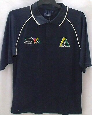Lawn Bowls Australia Australian Open Polo Shirts Mens Limited Sizes Navy/ White