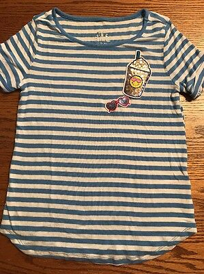 Justice Girls Size 12 Blue, White Striped Sequin Patch Tee Shirt