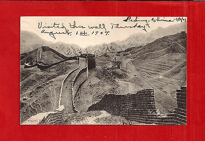 CHINA Great Wall postcard view dated August 1, 1907, Very Fine used but unmailed