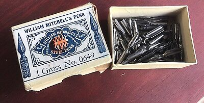Made In England William Mitchell Steel Pen Nibs In Original Box