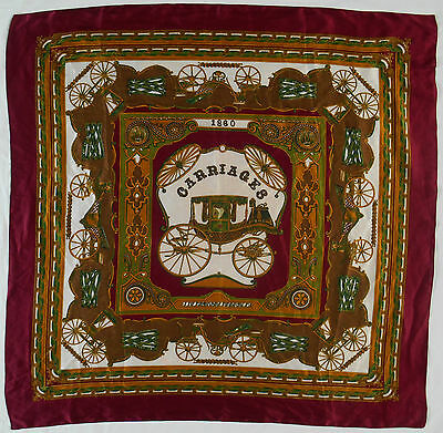 "1860 VICTORIAN CARRIAGES MULBERRY SILK 34"" SQUARE, 1970s VINTAGE SCARF"
