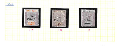 LEEWARD ISLANDS 1902 Definitive Overprints - SG 17/19 - m/m