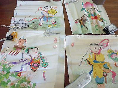 4 vintage Japanese watercolours - auspicious deities