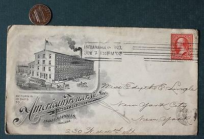 1902 Indianapolis, Indiana American Trouser Co.Clothing Factory ORNATE envelope!