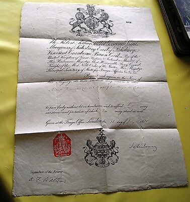 Vintage GB Passport Travel Document Issued by Earl of Salisbury July 1885 No 488