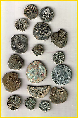 LOT(a)  17 SPANISH  ANCIENT COINS OF DIFERENT TIMES-MEDIEVAL-ROMA-COLONIAL-etc.