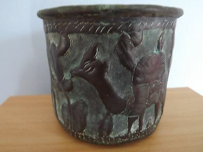 Unusual Antiquity hand beaten Copper Cup with green patina camel & bird depicted