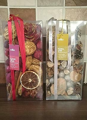 Wilkos Xmas Scented Potpourri x2 - Spiced Plum & Festive Gold  - NEW