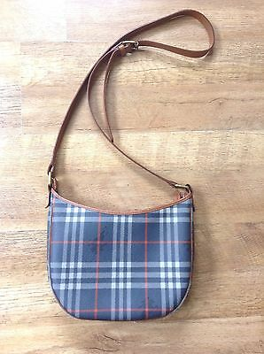 Burberry vintage navy blue and red check leather bag