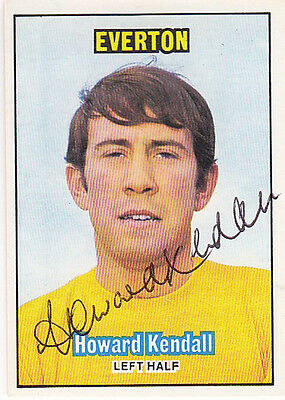 • Hand Signed A & Bc Trade Card 1970/71 Everton - Howard Kendall