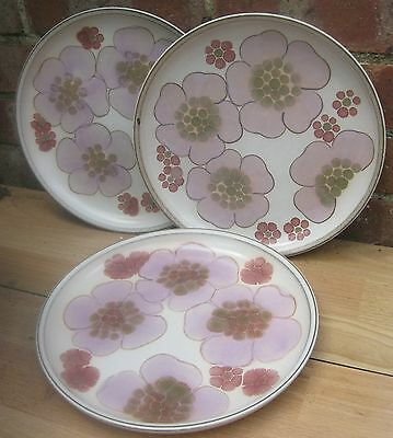 """3x Denby Gipsy Dinner Plates Pink Flowers 10"""""""