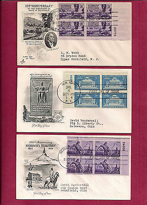 15 US plate blocks of four FDC First Day Covers 1948 - 1956, KS, NH, Jefferson